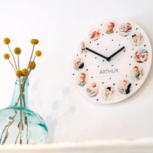 Glazen klok met eigen opdruk. HB-Creations Tilburg (Reeshof)