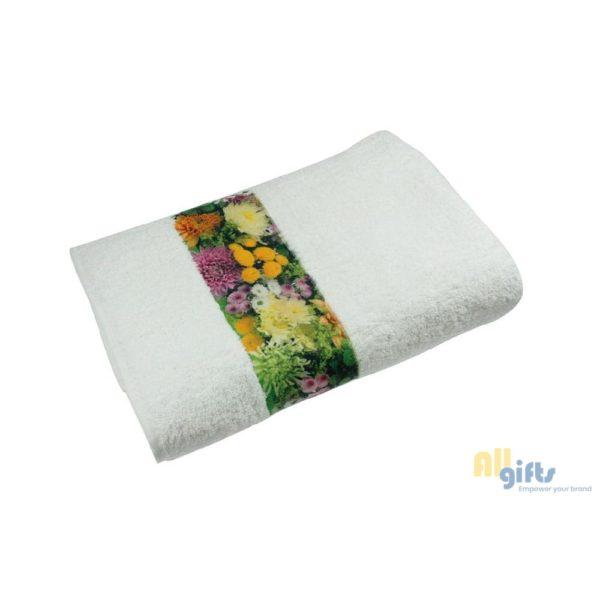 Handdoek 100x50 cm bedrukt met eigen lafbeedling of logo. HB-Creations Tilburg (Reeshof)