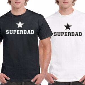 T-shirt zwart of wit met de tekst Superdad. Leuk vaderdag cadeau. HB-Creations Tilburg Reeshof.