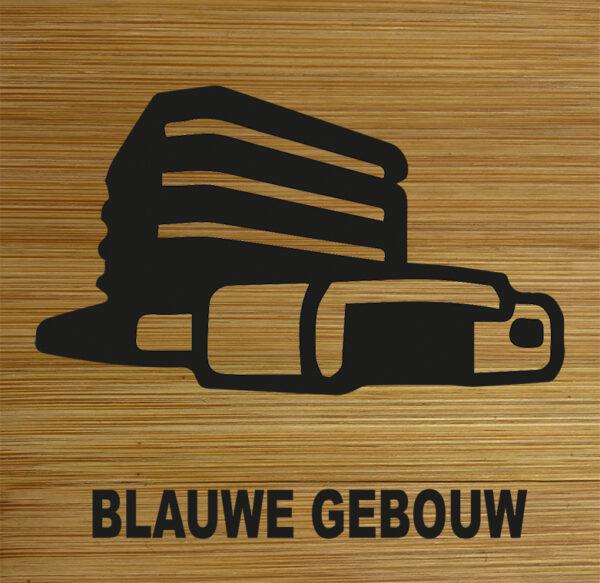 Onderzetter Blauwe gebouw. HB-Creations Tilburg Reeshof