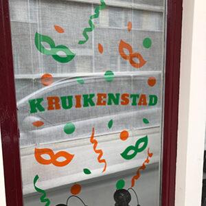 Herbruikbare statische raamfolie Kruikenstad. Carnaval 2021. Hb-Creations Tilburg Reeshof
